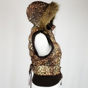 Jackets & Coats - Faux Fur Animal Print Hooded Puff Vest Size Small